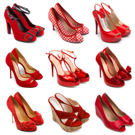 multiplicity: Set of red,female shoes on a white background 9 pieces