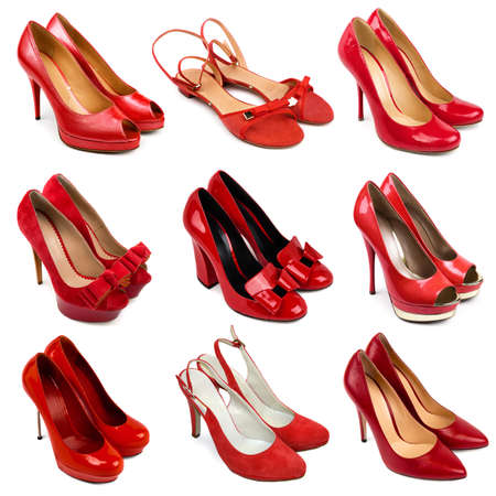 stilleto: Set of red,female shoes on a white background 9 pieces