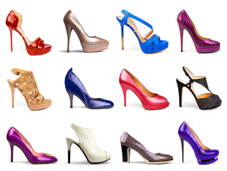 shoes fashion: Set of different,multicolored female shoes on a white background in profile 12 pieces