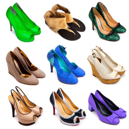 stilleto: Set of different,multicolored female shoes on a white background 9 pieces