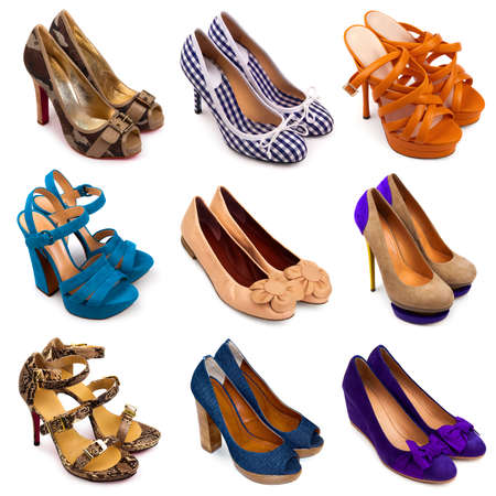 multiplicity: Set of different,multicolored female shoes on a white background 9 pieces