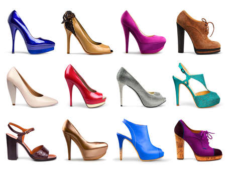 shoes model: Set of different,multicolored female shoes on a white background in profile 12 pieces
