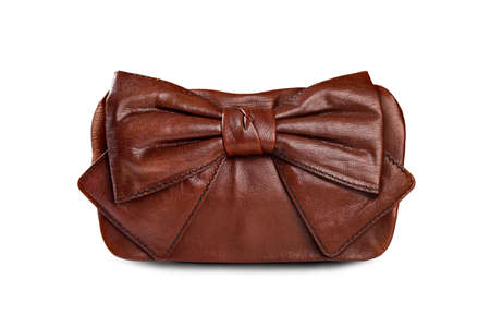 woman s bag: Brown female bag on a white background