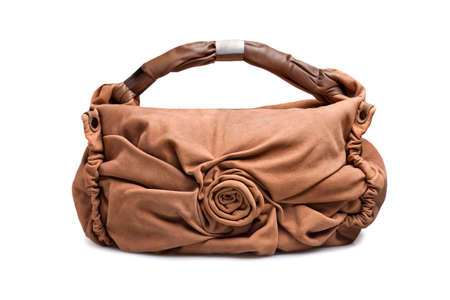 woman s bag: Brown-beige female bag on a white background