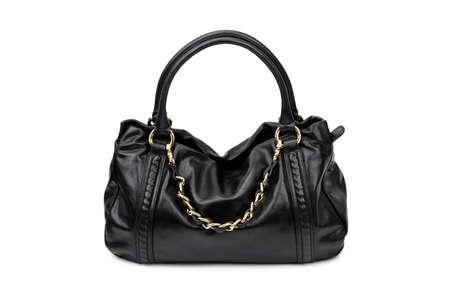 woman s bag: Black female bag on a white background