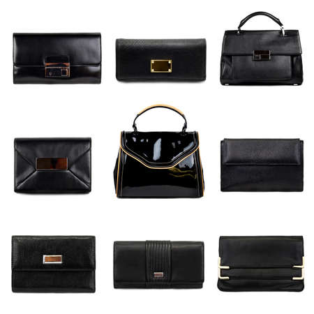 Set of dark,different female purses on a white background 9 pieces