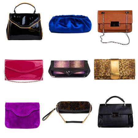 chamois leather: Set of multicolored female purses on a white background 9 pieces