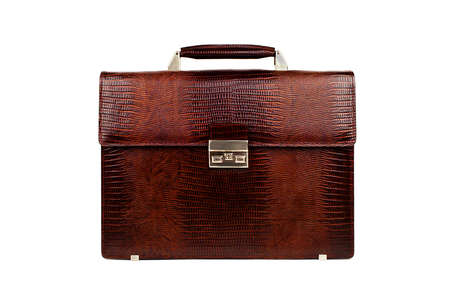 leather briefcase: Brown male briefcase on a white background