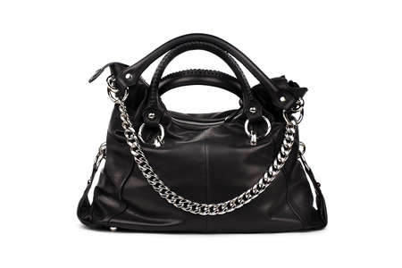 chainlet: Black female bag on a white background