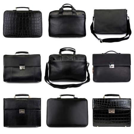 leather briefcase: Set of dark,different male briefcases on a white background 9 pieces