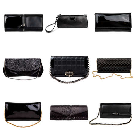 Set of dark,different female purses on a white background.9 pieces. photo