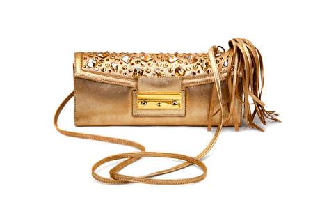 Golden female bag on a white background.