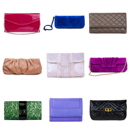 Set of multicolored female purses on a white background.9 pieces. Stock Photo