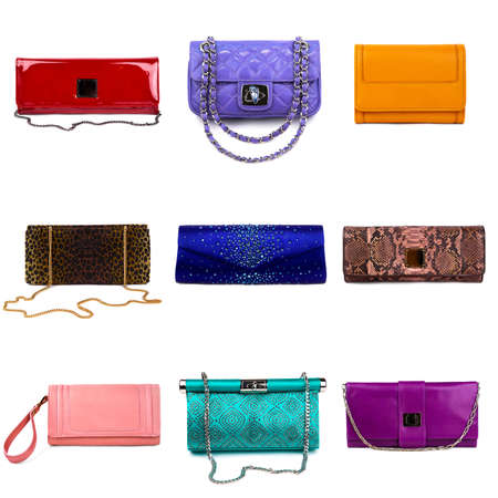 Set of multicolored female purses on a white background 9 pieces