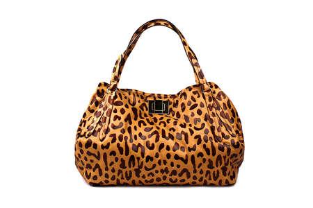 woman s bag: Brindle female bag on a white background