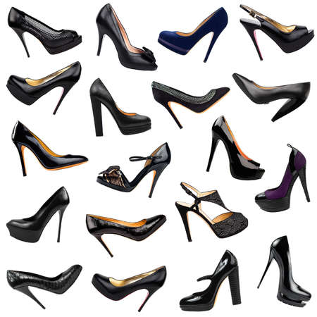 stilleto: Black female shoes background