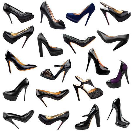 tacones negros: Fondo negro zapatos de mujer