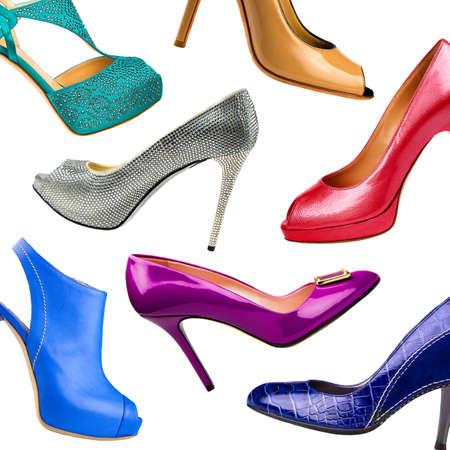 women s fashion: Multicolored female shoes background