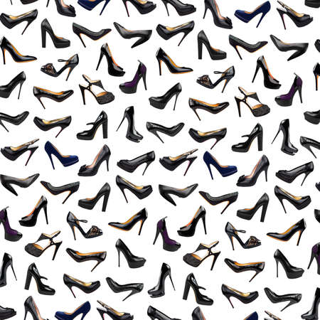 Black female shoes background