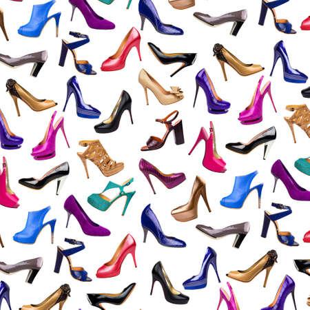 Multicolored female shoes background photo