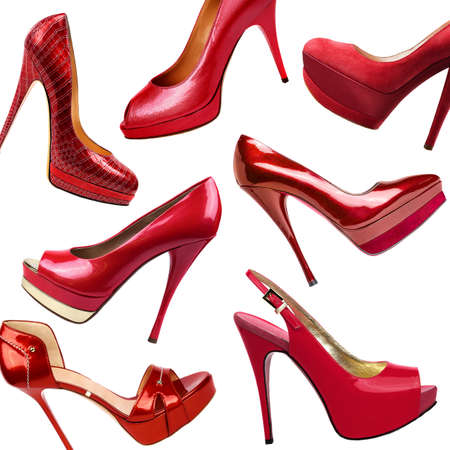 Red female shoes background Stock Photo