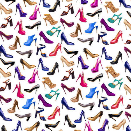 chaussure: Multicolore fond female shoes Banque d'images