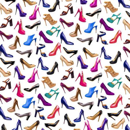 chaussure: Multicolore fond female shoes Banque d'images