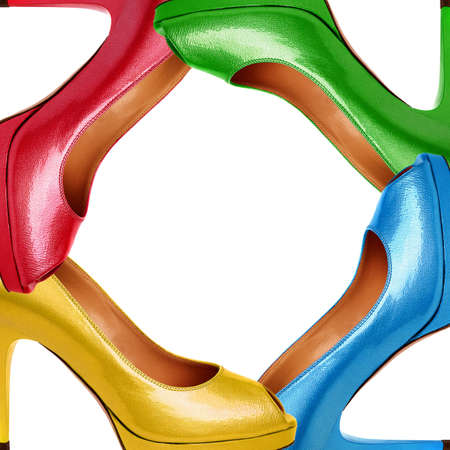 high heel shoes: Multicolored female shoes background