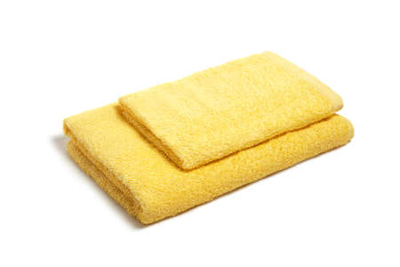 Stack of towels on a white background