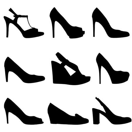 stilleto: Set of female shoes silhouettes on white background  9 pieces in profile  Stock Photo