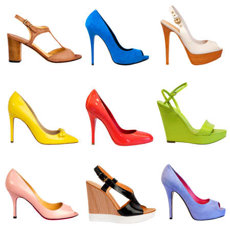 stilleto: Set of multicolored female shoes on white background 9 pieces in profile  Stock Photo