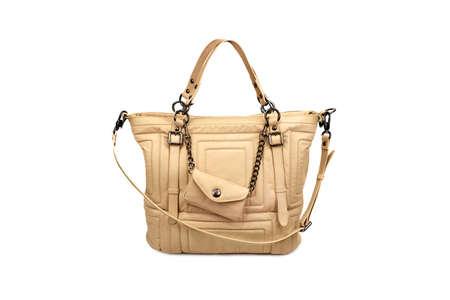 woman s bag: Beige female bag on white background
