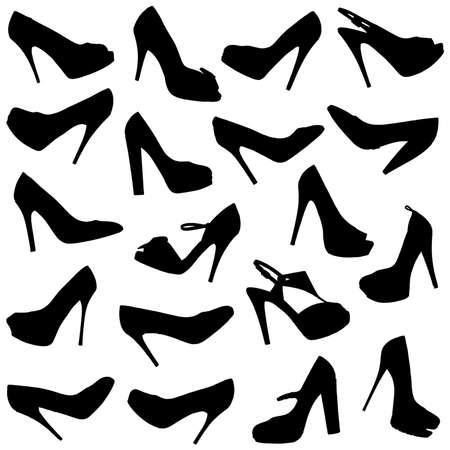 Set of female shoes silhouettes on white background.  photo