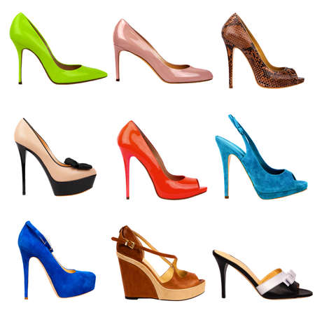 stilleto: Set of multicolored female shoes on white background.9 pieces in profile. Stock Photo