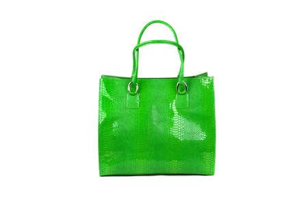 woman s bag: Green female bag on white background Stock Photo