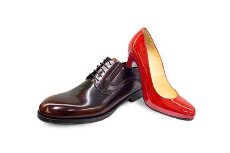 Male female shoes on white background  photo