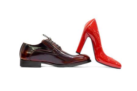 Male female shoes on white background Stock Photo - 15118267