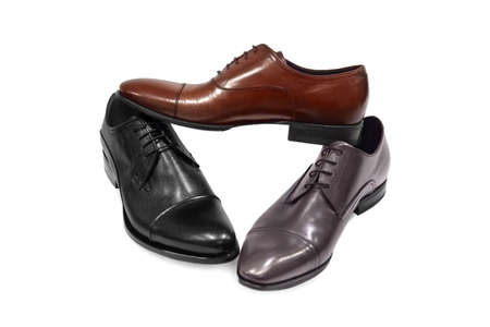 mens shoes: Male footwear on white background.