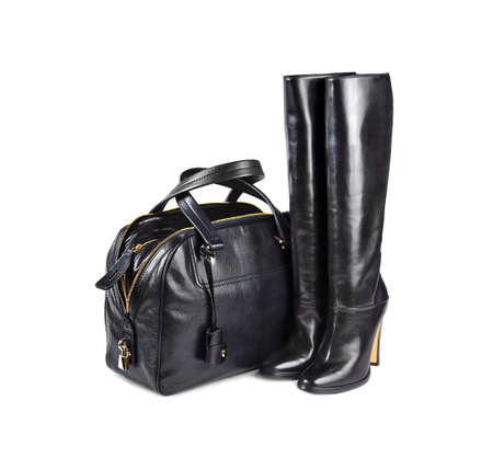 leather bag: Black female bag&boots on white background.