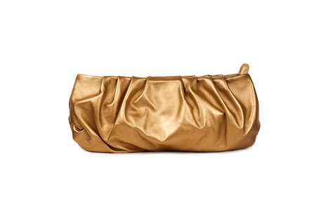 woman s bag: Golden female purse on white background