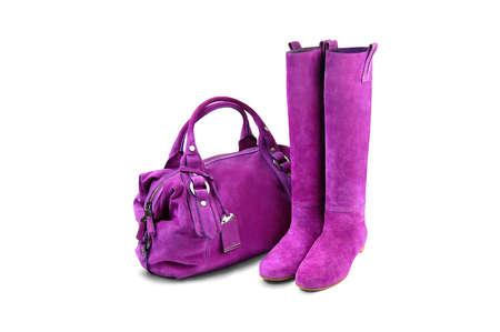 woman s bag: Purple female  bag boots on white background
