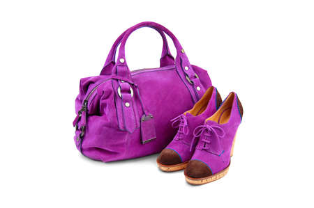 woman s bag: Purple female  bag shoes on white background