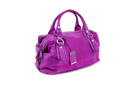 woman s bag: Purple female bag on white background