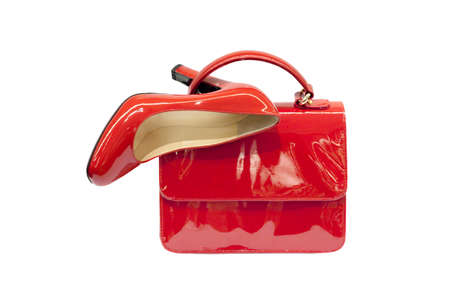 woman s bag: Red female bag shoes on white background