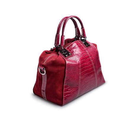 woman s bag: Rose female bag on white background  Stock Photo