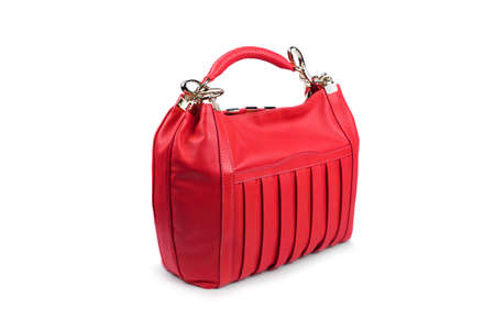 woman s bag: Red female bag on white background