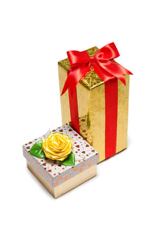 Two  gift boxes with bow and ribbon on white background photo