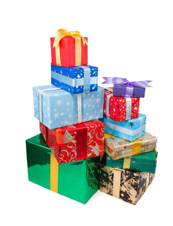 Gift boxes with bow and ribbon on white background Stock Photo - 16902606