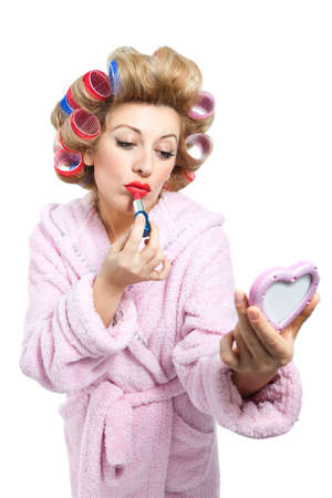 curlers: Housewife and make up on white background