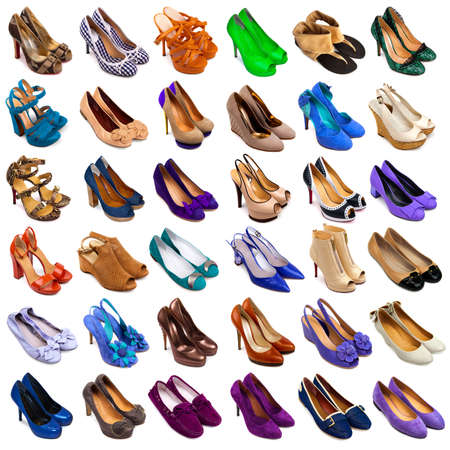 multiplicity: Set of multicolored female footwear on white background